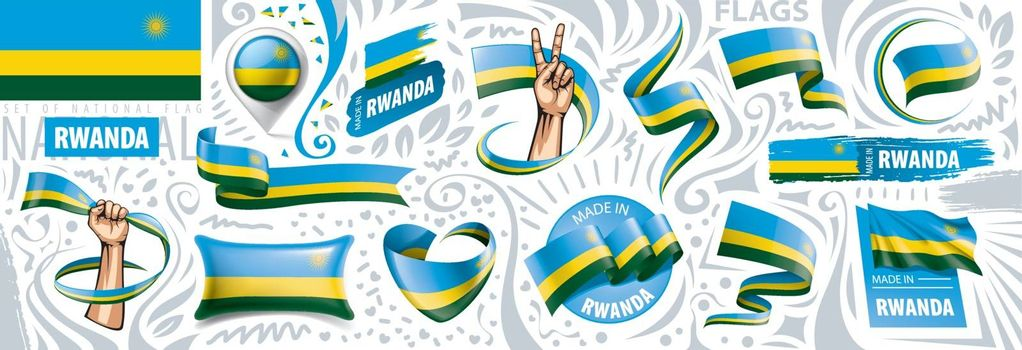 Vector set of the national flag of Rwanda in various creative designs.
