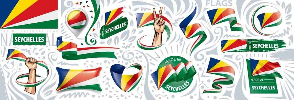 Vector set of the national flag of Seychelles in various creative designs.