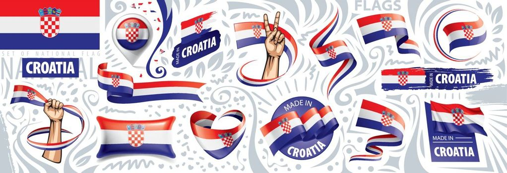 Vector set of the national flag of Croatia in various creative designs.