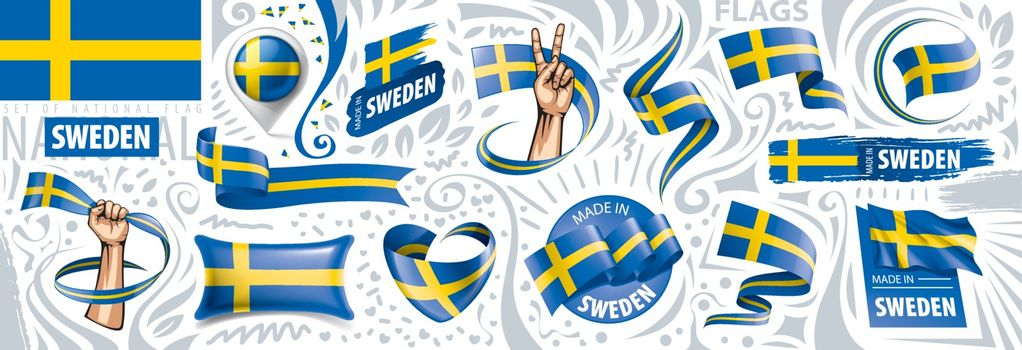 Vector set of the national flag of Sweden in various creative designs.