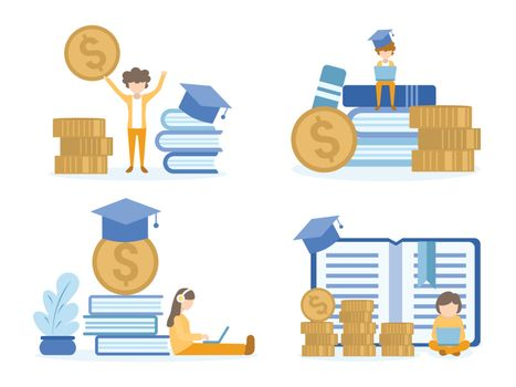 Men happy with money. Student learning investment online courses. Concept Illustration of investment education for training, studying, e-learning, and online course.