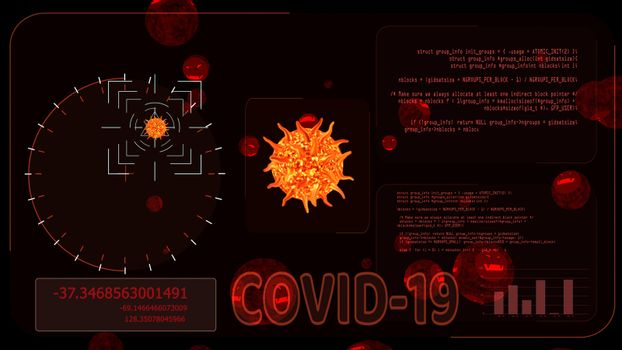 virus covid 19 ball was detedted by digital radar analysis information to find vaccine and medicine another evil face virus on red screen