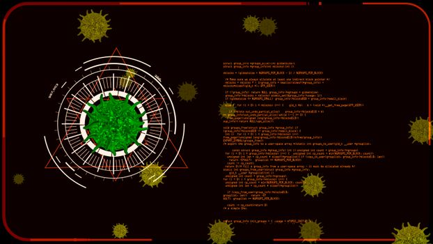 green virus covid 19 digital was analysis information to find vaccine and medicine and yellow another virus on monitor red screen