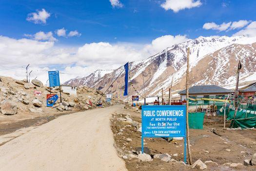North Pullu entry check point and Military camp after Khardung La towards way to Nubra valley, near the Chinese-Pakistani borderland, Karakoram Range, Leh, India
