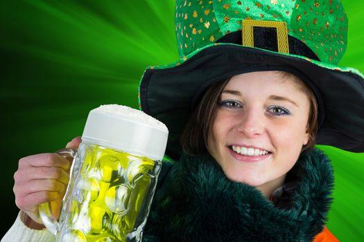 Irish girl holding beer