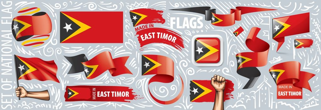 Vector set of the national flag of East Timor in various creative designs.