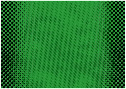 Green Grunge Background with Texture and Halftone - Colored Illustration for Your Graphic Design, Vector