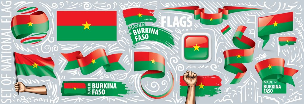 Vector set of the national flag of Burkina Faso in various creative designs.