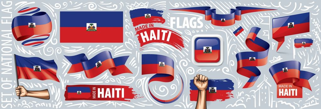 Vector set of the national flag of Haiti in various creative designs.