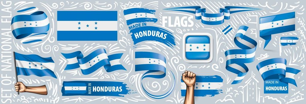 Vector set of the national flag of Honduras in various creative designs.