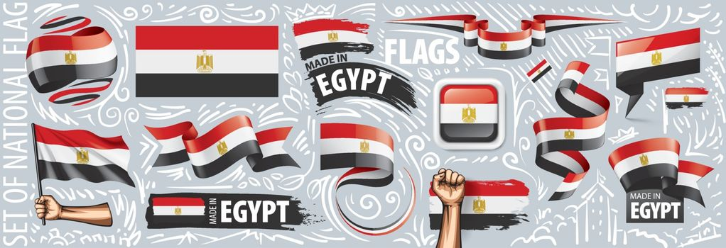 Vector set of the national flag of Egypt in various creative designs.
