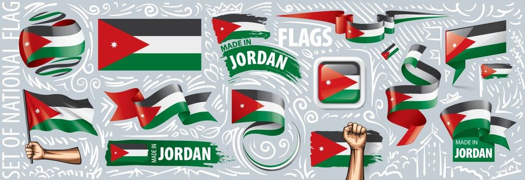 Vector set of the national flag of Jordan in various creative designs.