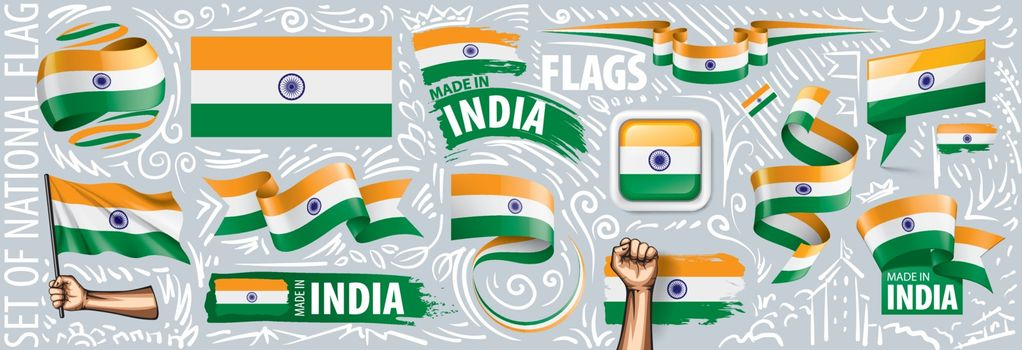 Vector set of the national flag of India in various creative designs.