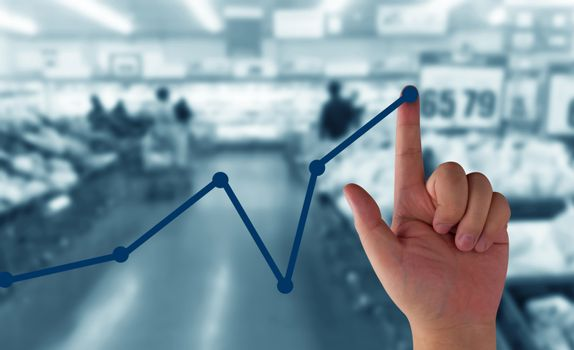 Business growth concept, hand and financial graph increase market profit