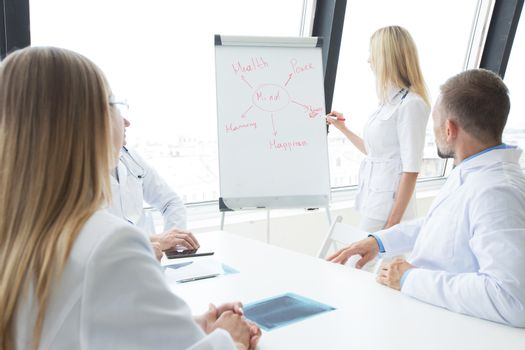 Team of medical doctors discuss mental health concept at presentation in clinical office