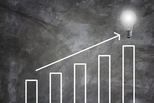Business success concept, graph and arrow target to growth and achievement