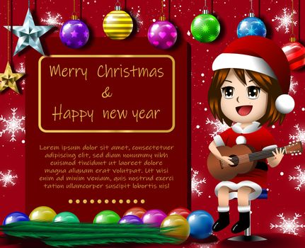 Girl solo guitar merry christmas red background eps 10