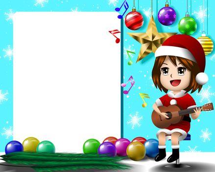 Girl solo guitar merry christmas eps 10