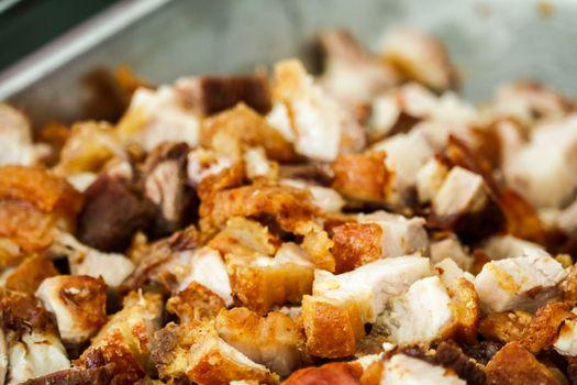 Crispy pork on street food famous in the pattaya city