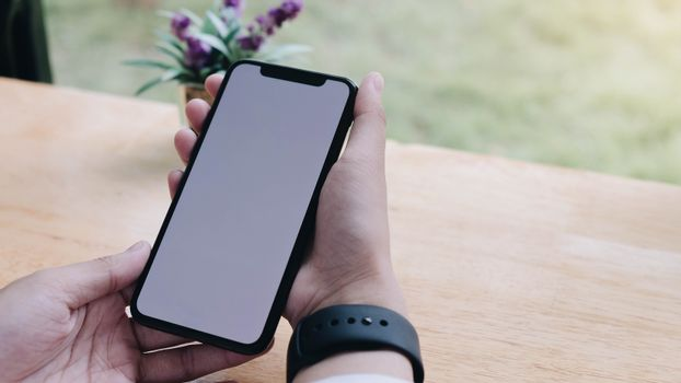 Close-up view of woman's hands holding blank screen smartphone