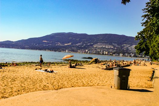 Third Beach - Vancouver, Canada. Third beach along Stanley Park in Vancouver, Canada. View of the North Shore.