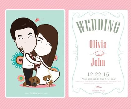 Bride and groom and flower beautiful, wedding card vector