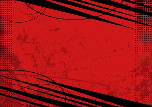 Red Grunge Background with Texture and Halftone - Colored Illustration for Your Graphic Design, Vector