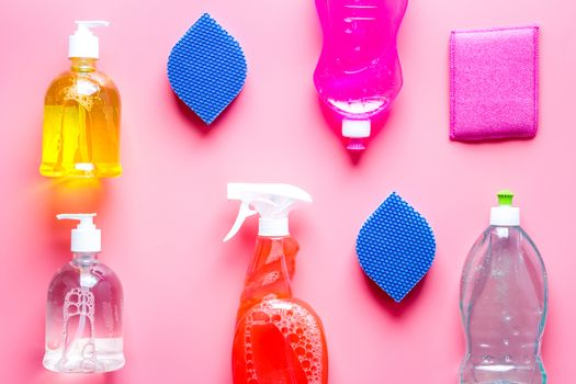 Cleaning products, sponges for housework top view pattern