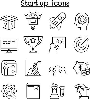 Startup icon set in thin line style