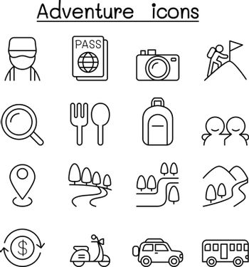 Camping , Adventure & Tourism icon set in thin line style