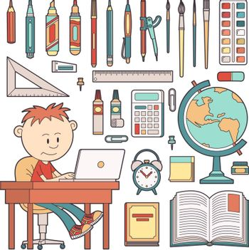 Schoolboy sits at a table with a laptop. School office supplies. Vector illustration.