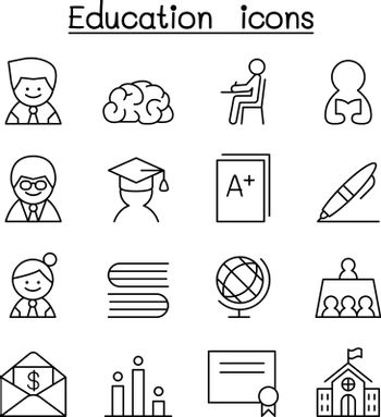 Education & learning icon set in thin line style