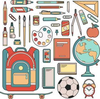 Set of objects for student in school. Stationery for the pupil. Vector illustration.
