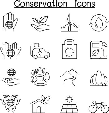Conservation & Ecology icon set in thin line style