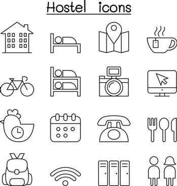Hostel icon set in thin line style