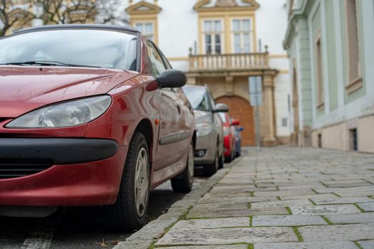 cars parked in the central streets of big cities