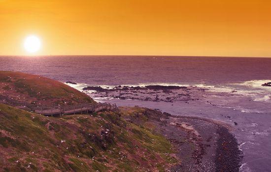 wonderful sunset on Phillip Island in Australia