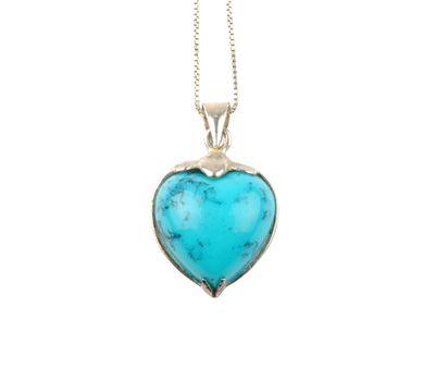 blue stone heart over white