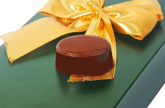 gift chocolate candy on green box