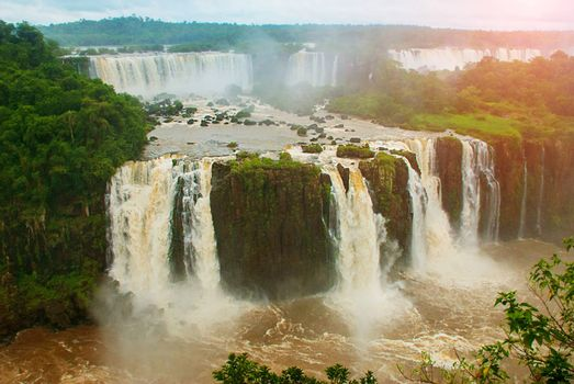 Brazil, America, Iguazu falls. Beautiful famous waterfall. Landscape with a view of the water jet. Seventh wonder of the world. UNESCO world heritage