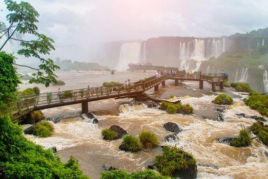 Brazil, America, Iguazu falls. View of the beautiful Brazilian waterfall. Seventh wonder of the world. UNESCO