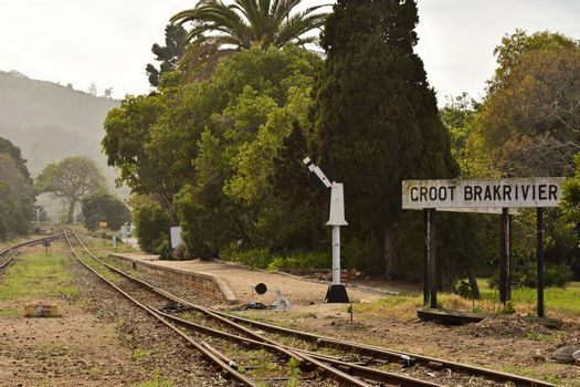 Old railroad and train stop platform at Groot Brakrivier, Mossel Bay, South Africa