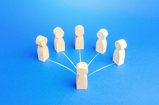 Leader person is connected by lines with employees. Teamwork, command and assignment of tasks. Authoritative influence. Leadership qualities, followers. Cooperation collaboration. Business management