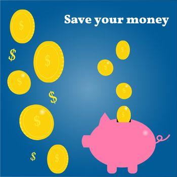 Pig piggy bank and gold coins. Saving money