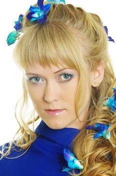 beautiful woman with blue iris flowers