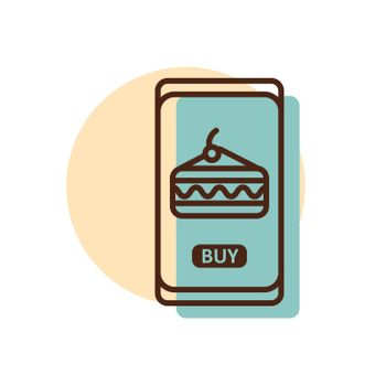 Fast food delivery service vector icon. Cake symbol. Mobile app order food online website.