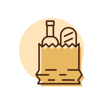 Paper bag with food vector icon. Delivery sign. Graph symbol for cooking web site and apps design, logo, app, UI