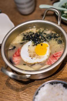 A closeup shot of seafood stews in a pot in China