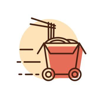 Wheeled wok box vector icon