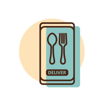 Fast food delivery service vector icon. Fork and spoon sign. Mobile app order food online website.